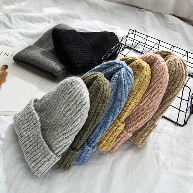 New Winter Solid Color Knit Beanie Casual Hat Warm Soft Thicken Hedging Cap 1