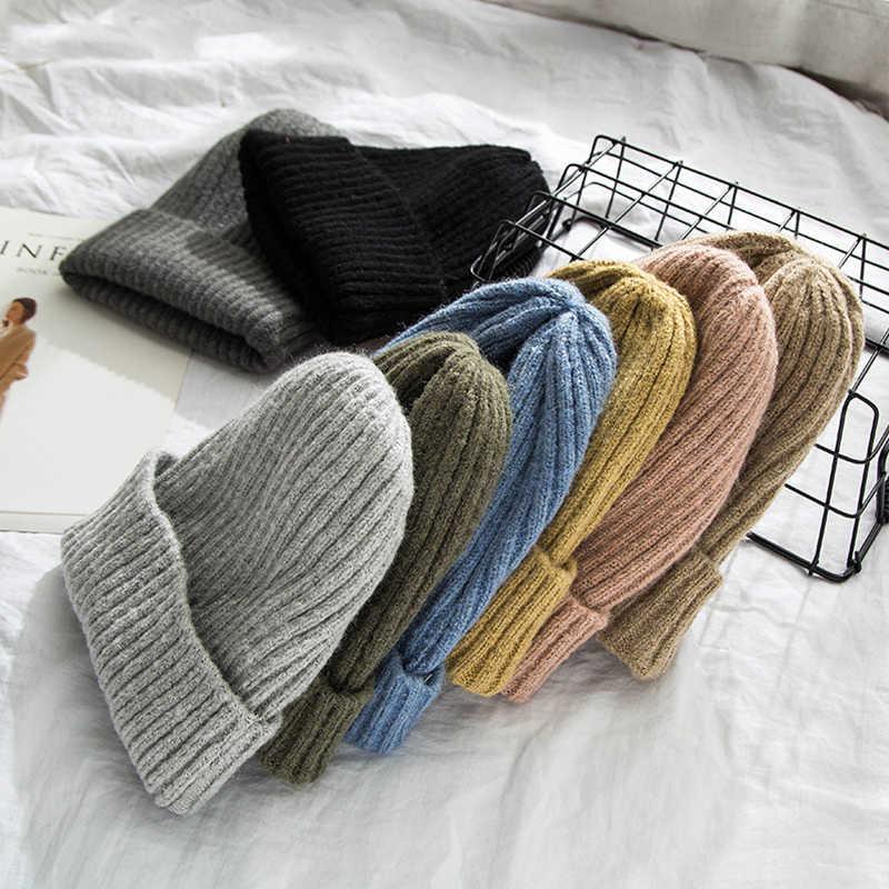 2019 新冬のソリッドカラーのウールニットビーニー女性ファッションカジュアル帽子暖かい女性ソフト厚みヘッジキャップだらしないボンネットスキー