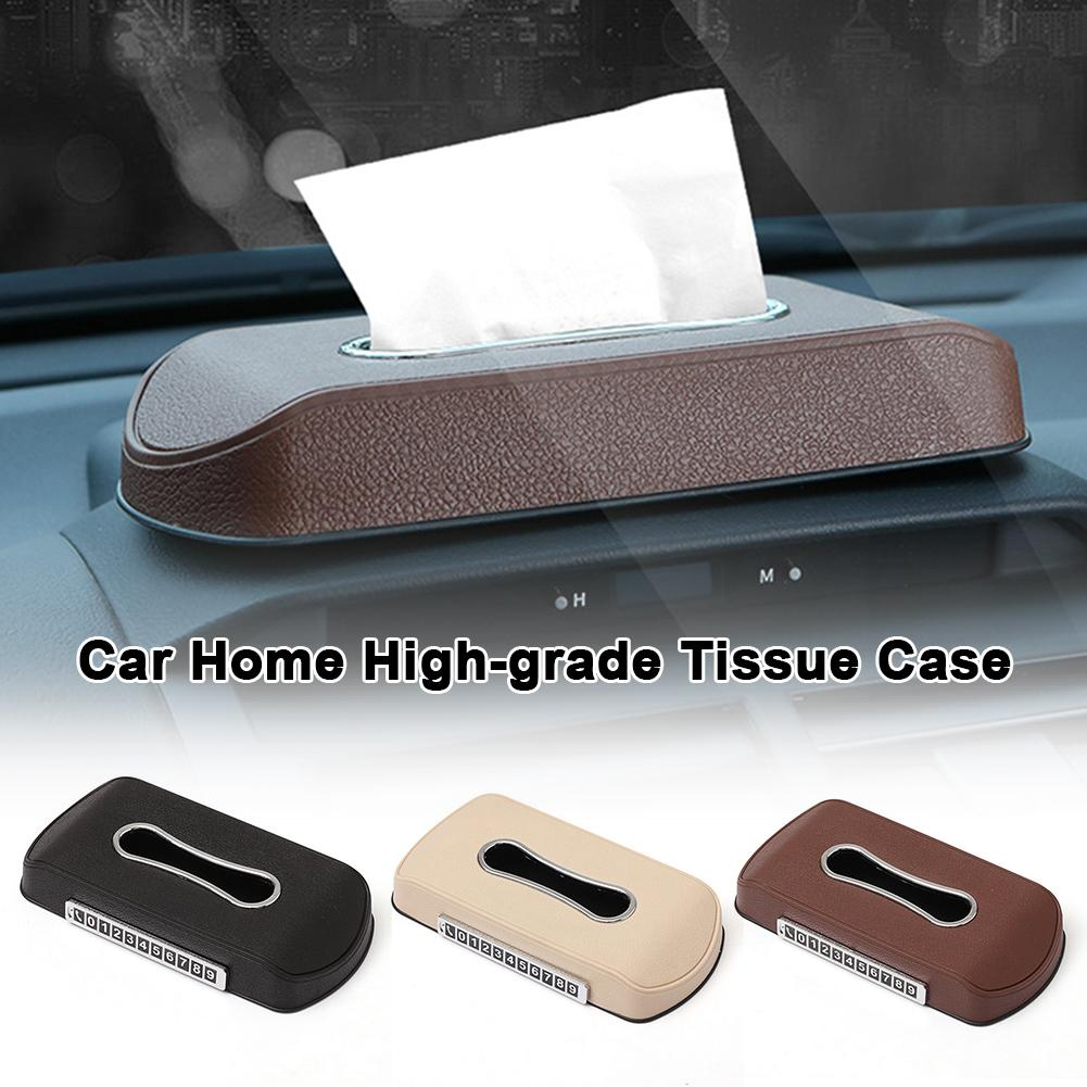 Car Home High-grade Tissue Case Box Plastic Sun-proof Seat Type Automobile Central Control Temporary Stop Sign Napkin Drawer