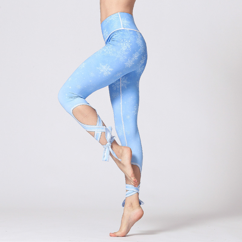 New nine point binding yoga pants printed polyester quick drying breathable fitness leggings in Yoga Pants from Sports Entertainment