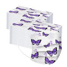 Mascarilla – masque facial jetable pour enfants, 3 couches, papillon violet, industriel, livraison rapide