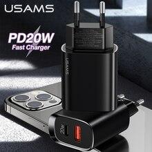 USAMS 20W PD Schnelle Ladegerät QC 3,0 QC 3,0 USB Typ C Quick Charge Für Ipad Mini Iphone 12 pro Max 11 8 Huawei P30 p40 Xiaomi 10 9 8