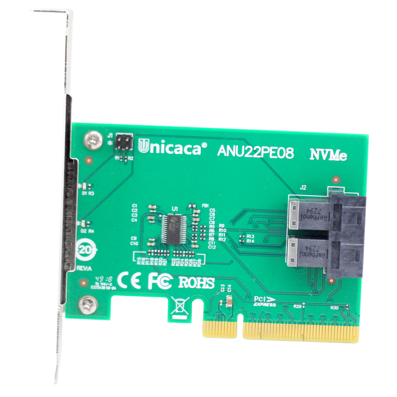 Image 4 - UNICACA ANU22PE08 SFF8643*2 PCIe3.0 X8 12Gb/s U.2 exp rise adapter (support nvme device ) with cable*1-in Add On Cards from Computer & Office