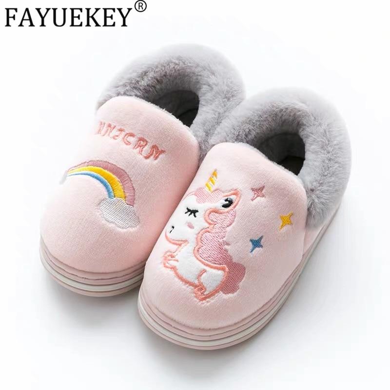 Lovely Cartoon Rainbow Unicorn Shoes Soft Toddler 2019 New Winter Children Cotton Shoes Kids Baby Boys Girls Indoor Non-slip