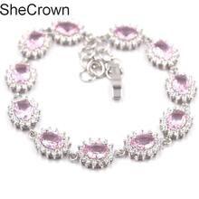 17x11mm Fantastic Pink Kunzite White CZ Woman's Present Silver  Bracelet 7.0-8.0in