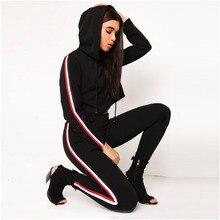 цена на Women Drawstring Sweatshirt And Striped Pants Casual Sport Suit  Jogger Set Casual 2pcs Outfits Conjuntos De Mujer Wz*