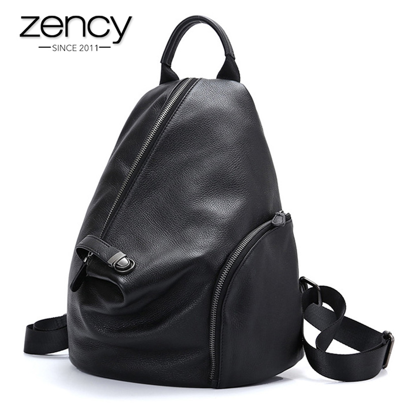 Zency 100% Genuine Leather Daily Casual Backpack For Women Classic Black Student's Schoolbag Vintage Lady Knapsack High Quality
