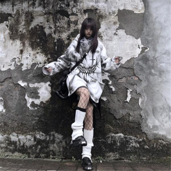 Oversized Goth Hoodie Women's Clothing & Accessories Tops & Tees Hoodies & Sweatshirts Sweaters cb5feb1b7314637725a2e7: Blue|Gray|Westar|White