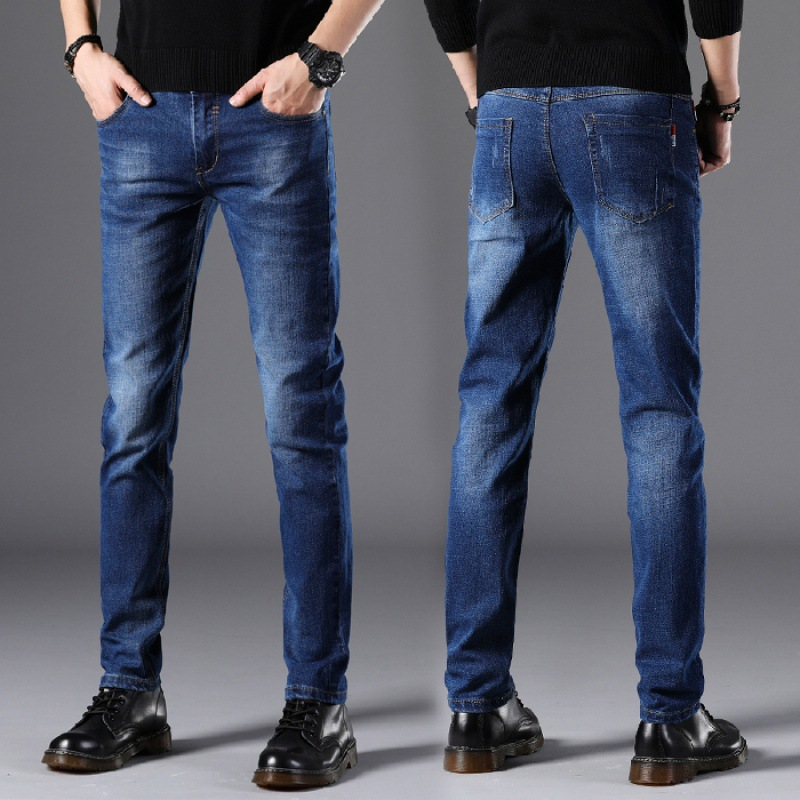 Blue + Black And White With Pattern 2019 Autumn And Winter Elasticity Jeans Men's Pencil Pants Slim Trousers