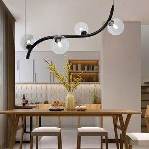 Image 2 - Artpad skandynawska minimalistyczna lampa wisząca do jadalni lina stalowa lampa wisząca AC110 220V Bar restauracja czarny wisiorek lampy
