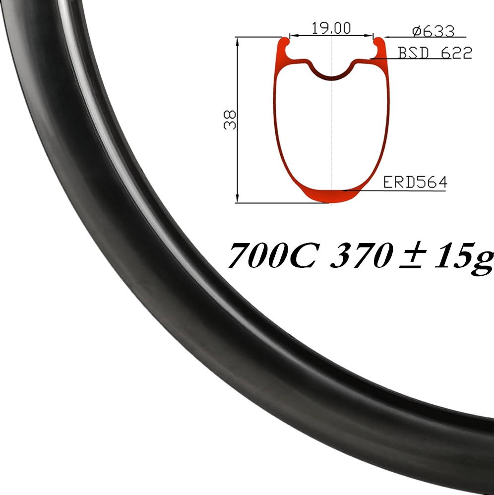 370±15g 700C 25mm Width 38mm Depth Keel Reinforcement Carbon Road Bike Rim Brake/Discbrake Tubeless Clincher HTG 280