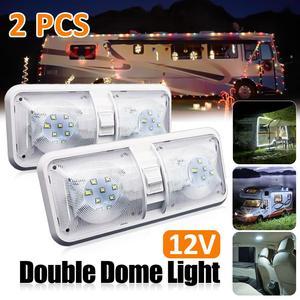 2 шт./1 шт. RV светодиодный 12 в Двойной Купол светильник с 2 шт. T10 клиновидные панели светильник потолочный светильник Кемперы трейлер морской ...
