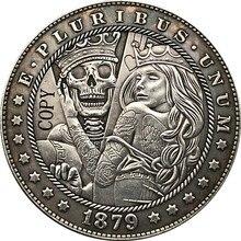 Hobo níquel 1879-cc eua morgan dólar moeda tipo de cópia 187