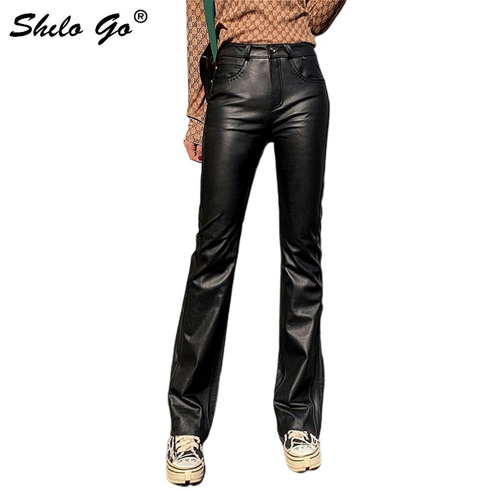 Genuine Leather Pants Minimalist Highstreet Single Button High Waist Sheepskin Flare Pants Women Autumn Office Lady Trousers