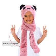3 в 1 Детские Плюшевые Пушистые зимние шапки с карманами