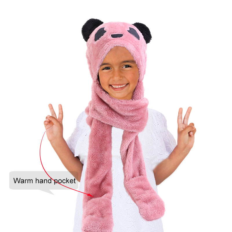 New Kids Teens Girls 3 In 1 Warm Plush Fluffy Cartoon Winter Hats Scarf Mitten Gloves With Pockets Hoodie Cap Costume Gift