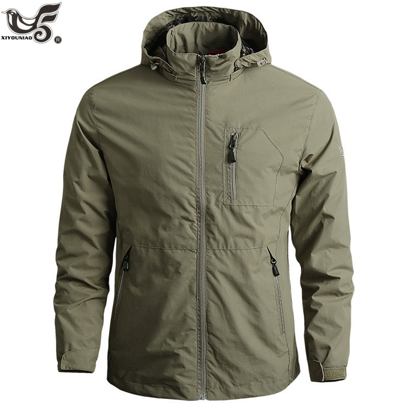 Men's Sportswear Windbreaker Military Thin Jackets For Men Casual Streetwear Breathable Hooded Coats Brand Clothing Size M~6XL