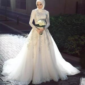 Image 1 - Muslim Arabic Wedding Dresses Long Sleeve Lace Applique With Hijab A Line Zipper Back Vestidos De Noiva Bride Dress 2020Princess
