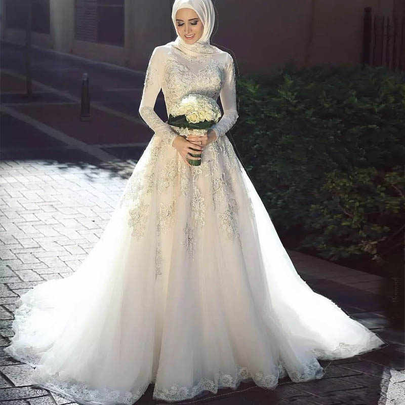 Musulman arabe robes De mariée à manches longues dentelle Applique avec Hijab une ligne fermeture éclair dos Vestidos De Noiva robe De mariée 2020 princesse