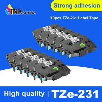 INKARENA 10 Pcs Compatible P-Touch Tz231 Tze231 12mm Black on White Label Tape Tze-231 Tz-231 for Brother Printer Ribbon