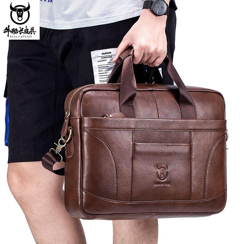 Vintage Brand Designer Men's Genuine Leather Briefcase Large Laptop Bags Natural Cowskin Man Busienss Bag Shoulder Messenger Bag