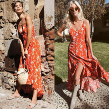 Womens Summer Red Floral Print Boho Maxi Long Dress Beach Sexy V Neck Button Cardigan Backless Ruffled Trim Long Split Sundress(China)