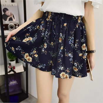 Fashion Women Short Skirt Chiffon Ruffle Floral Black Elastic High-Waist Casual Beach Printed Short Pants Skirt self belt ruffle waist high split skirt