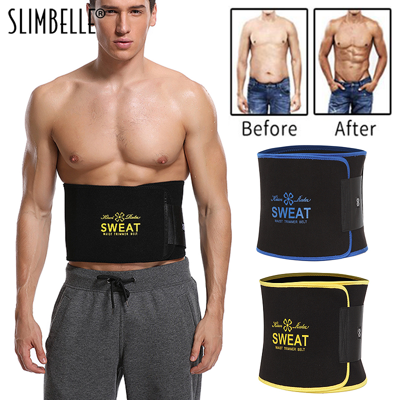 Men Black Neoprene Waist Trainer Corset Slimming Shaper Tummy Control Girdles Workout ABS Trimmer Fitness Sweat Belt