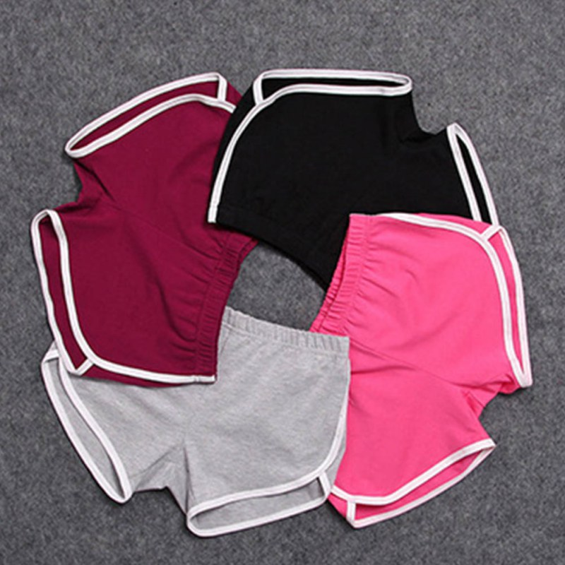 Women Ummer Street Fashion Shorts Elastic Waist Short Pants Women All-match Loose Solid Soft Cotton Shorts