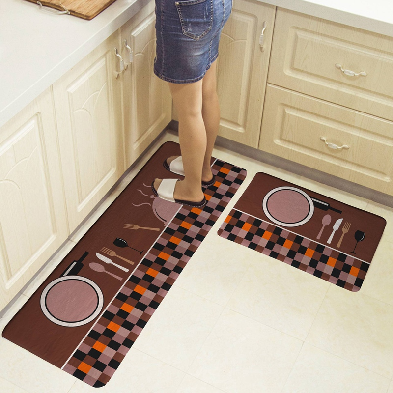 LIXF 2 Pack Cutlery Tool Print Pattern Kitchen Carpet Floor Mat Oil and Water Absorption Non Slip Foot Pad Coffee|Rug| |  - title=