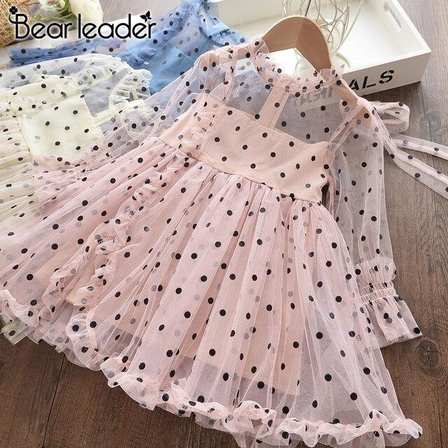 Bear Leader moda jesienna nowa dziewczęca sukienka urodzinowa księżniczka odzież śliczne Tutu sukienek Dot świąteczne eleganckie ubrania 2-7Y