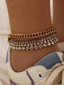 Ingesight.z Crystal Anklet Bracelet Barefoot Sandals Shiny Luxury Fashion Punk Curb 5pcs/Set