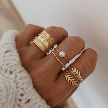 Gold-Color Rings-Set Joint-Ring Jewelry-Accessories Pearl Leaf Geometric Open Bohemian