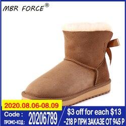 MBR FORCE/женские замшевые короткие зимние ботинки из овечьей кожи и шерсти с меховой подкладкой, повседневные Зимние ботильоны, размеры 34-44