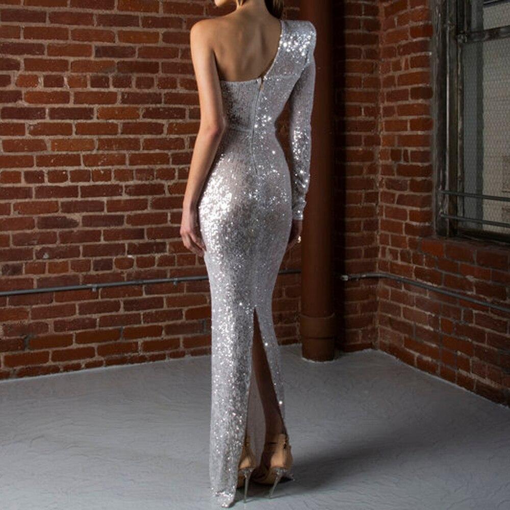 One Shoulder Backless Silver Sequined Evening Dress One Sleeve Split Back Stretchy Formal Dress Celebrity Dress