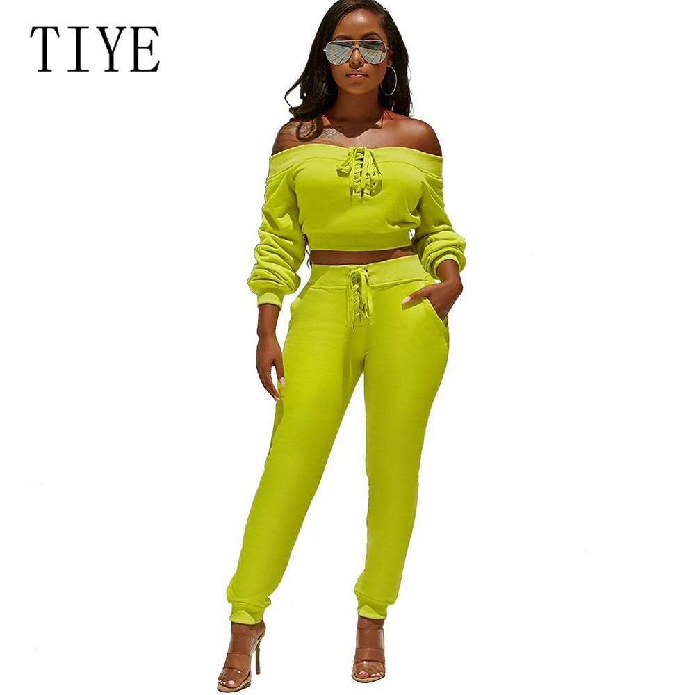 TIYE Women Retro Clothes Autumn Sexy Off Shoulder Long Sleeve Lace up Jumpsuits Femme Two Pieces Sets Bodycon Bandage Playsuits in Jumpsuits from Women 39 s Clothing