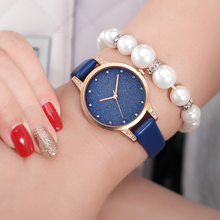 Glitter Ladies Wristwatch Dress Blue Starry Sky Fashion Quartz Watches Women Genuine Thin Leather Strap Watch Diamond Dial Clock