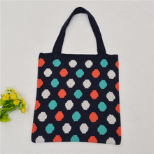 Handmade knitted quality tote bag for women man cotton blend colorful dots causal holiday blue and beige