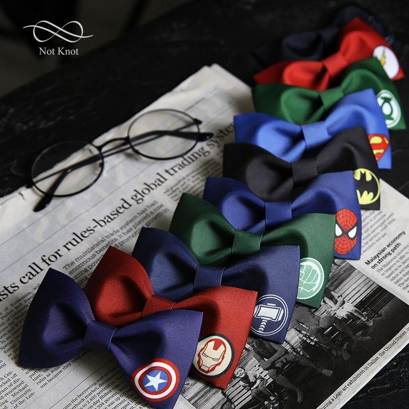 Cartoon Tie's For Men Creative Marvel Hero Print Butterfly Wedding Groomsman Bowties Party Dinner Neck Tie Boyfriend's Gifts