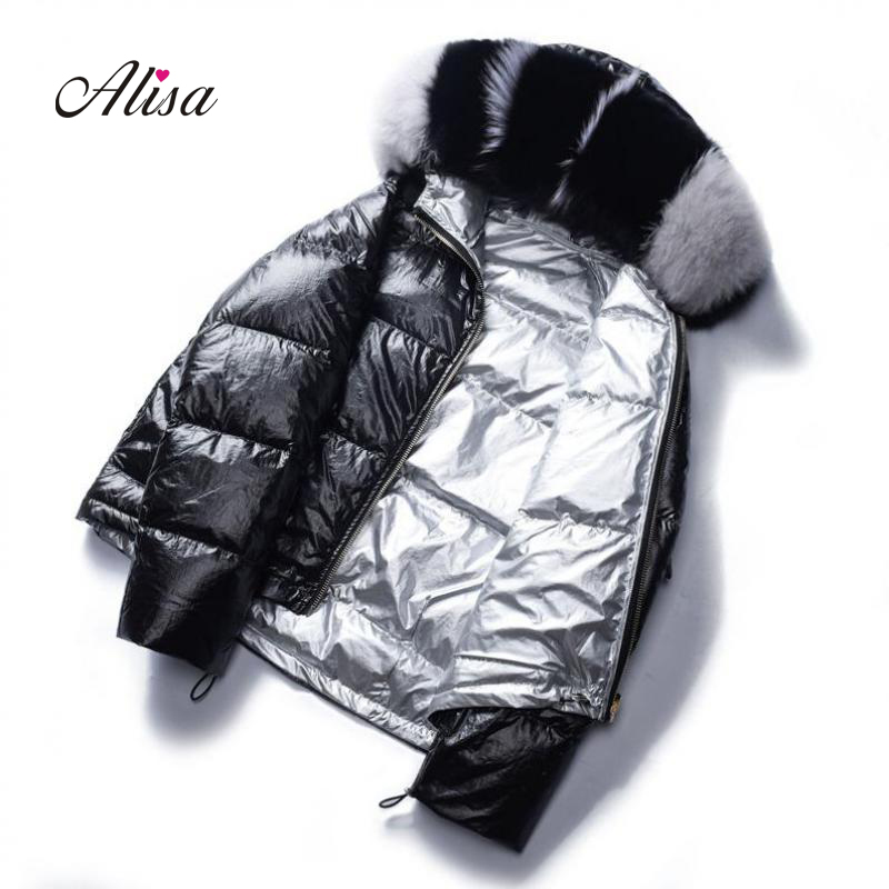 Womens Winter White Duck   Down   Two-sided Wear Fashion   Down   Jackets 2019 New Females Trend Fur Collar Slim Silvery Short   Coats