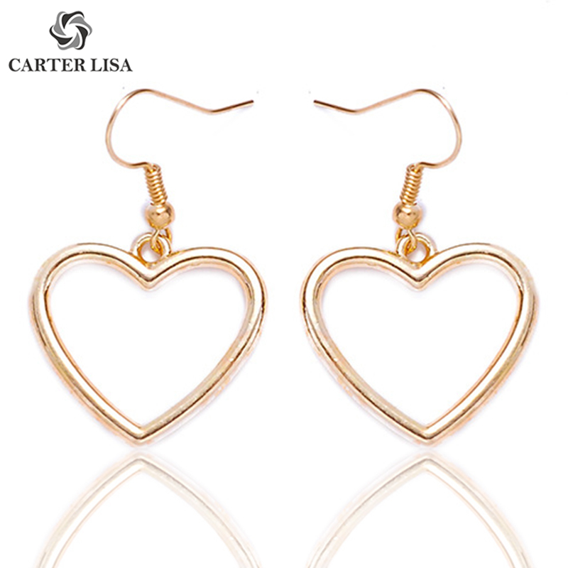 CARTER LISA Gold Heart Dangling Drop Hook Earrings For Women Girl Ethnic Fashion Jewelry Party Valentine's Gifts 2019