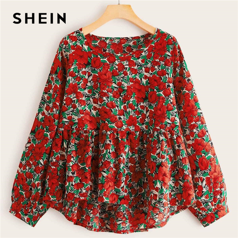 SHEIN Plus Size Multicolor Chiffon Floral High Low Babydoll Blouse Women Spring Peplum Casual Boho Womens Tops And Blouses