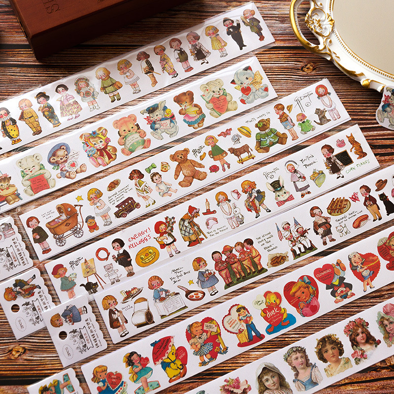 Paper Doll's Dream Show Series Retro Characters Washi Masking Tape Stickers Scrapbooking Stationery Decorative Long Strip Tape