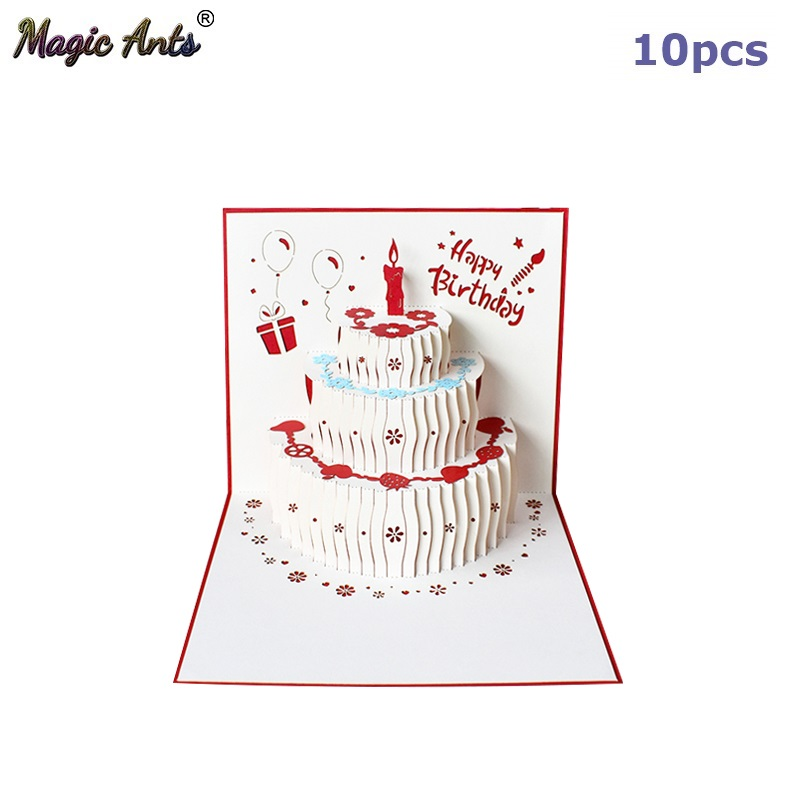 Awesome 10 Pack 3D Happy Birthday Cake Card Pop Up Cards Birthday Gift Funny Birthday Cards Online Inifofree Goldxyz
