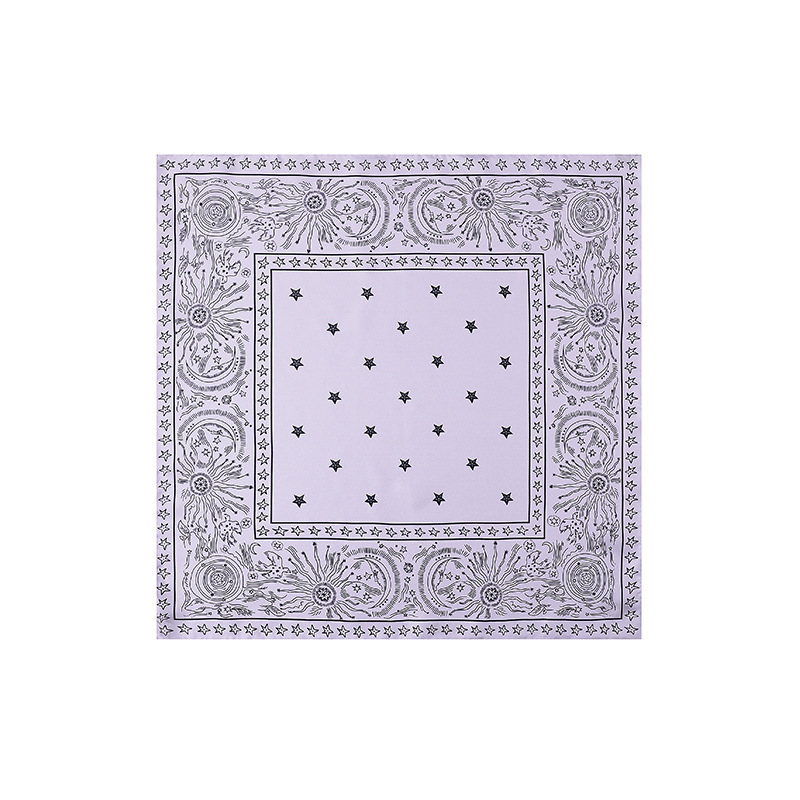 Cross Border Hangzhou Silk Moon And Stars Scarf Men And Women Silk Scarfchic Black And White-Style Twill Weave Silk Small Square