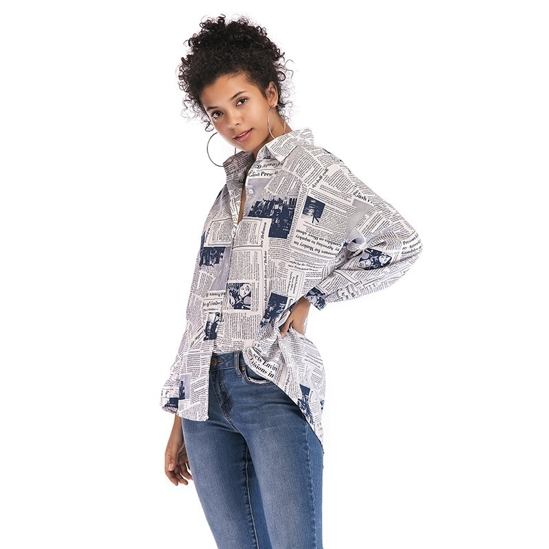 Top SaleçWomen Tops&Blouse Spring Summer Autumn Fashion Casual Letters Newspaper Printed Turn-down Collar Long Sleeve Loose Shirts Tops