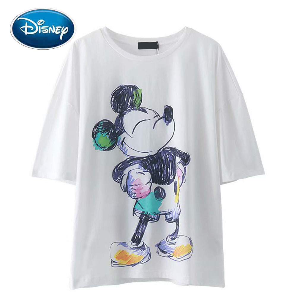 Disney Fashion Colorful Mickey Mouse Crayon Painting Cartoon Print Women T-Shirt O-Neck Pullover Short Sleeve Cotton Tee Tops