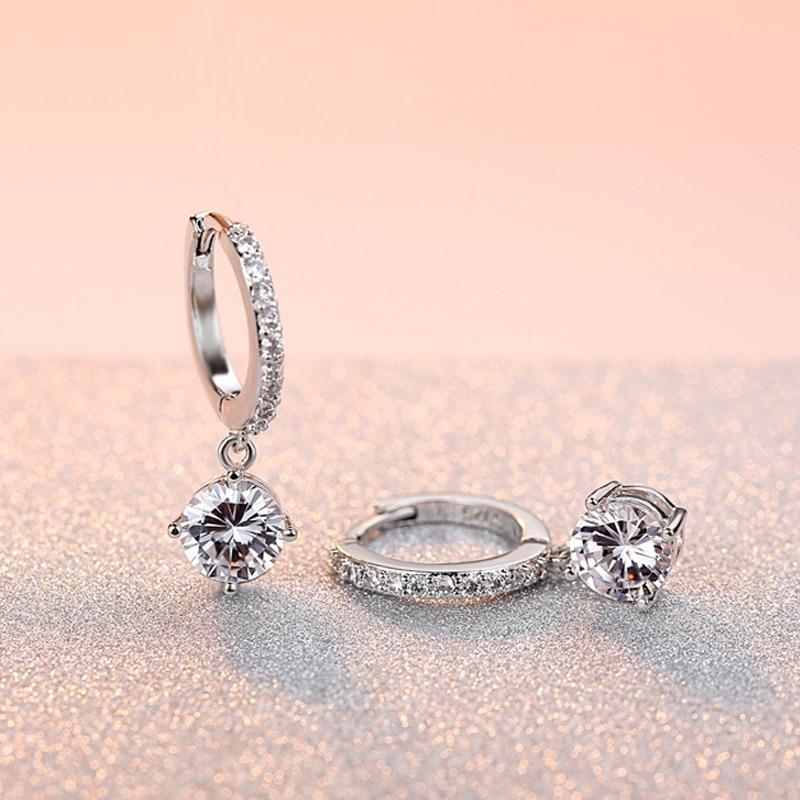 Newest Style Exquisite Crystal Women/Girls Stud Earrings Silver Golden Purple Wedding Jewelry