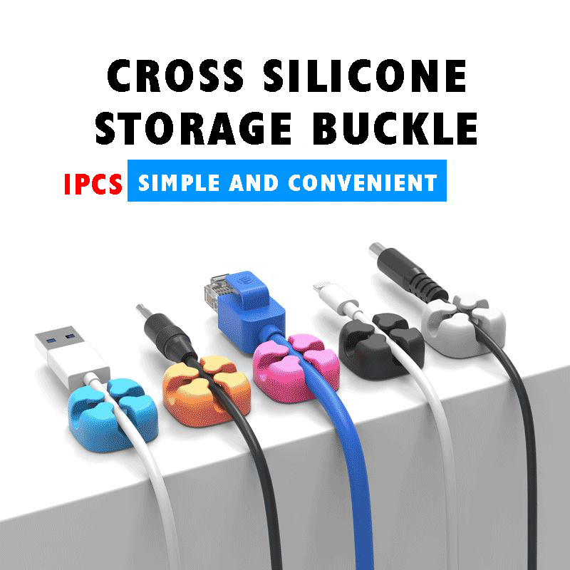 1pcs Cross Cable Fixer Desktop Cable Organizer Silicone Cable Clip Data Cable Storage Buckle Cable Single Port Five Colors
