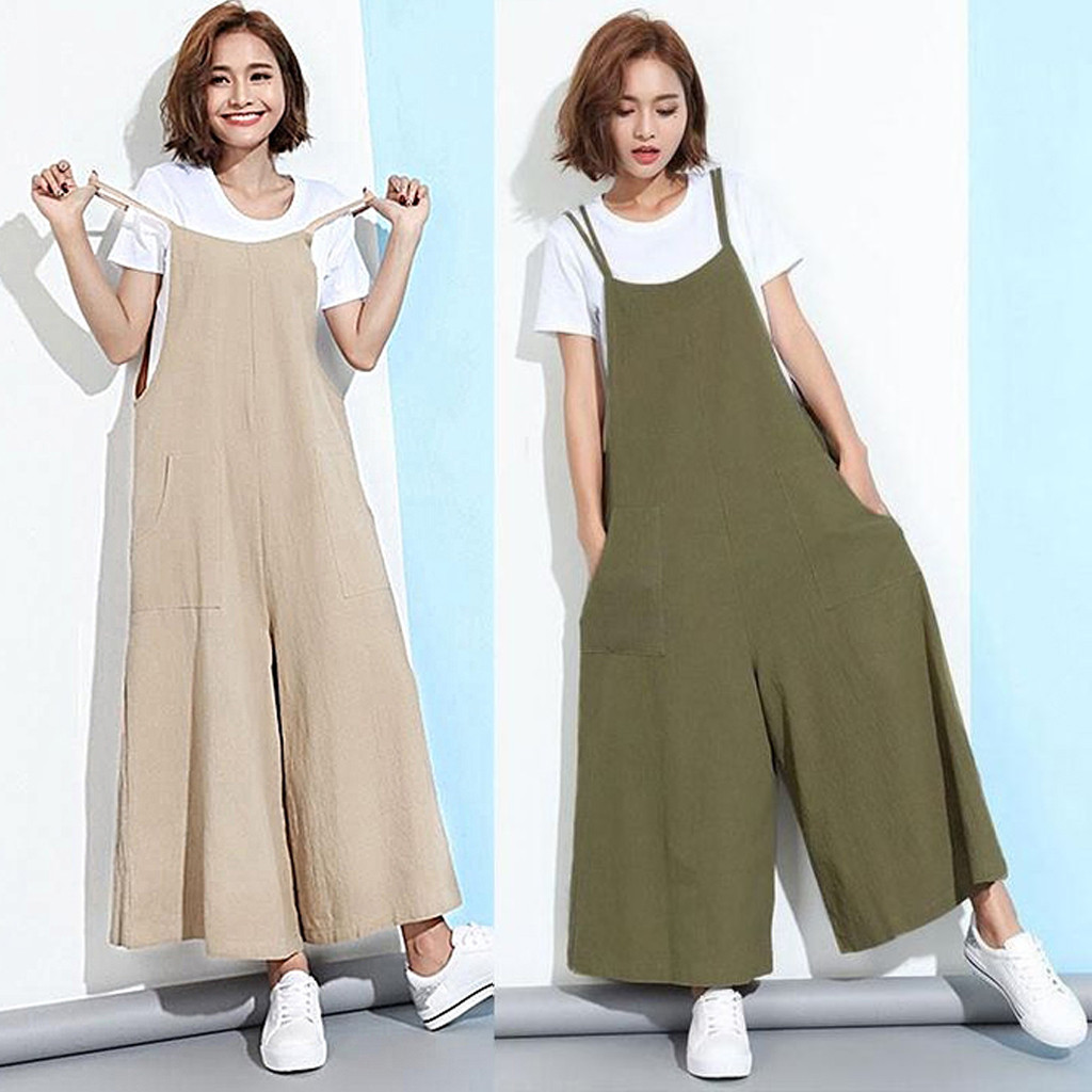 Women's Sexy Jumpsuit New Solid Color Button Strap Sleeveless Wide Leg Pants Fashion Casual Loose Daily Four Seasons Bib Pants